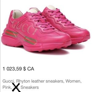 Gucci pink leather sneakers